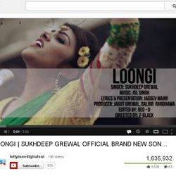 "One Million + Views for ""LOONGI"" song  in You Tube."