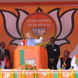 Prime Minister Narendra Modi addresses an election campaign rally in Hazaribag