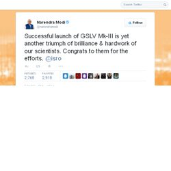 Successful launch of GSLV Mk-III is yet another triumph of brilliance & hardwork of our scientists. Congrats to them for the efforts. @isro : tweets Narendra Modi.