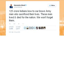 125 crore Indians bow to our brave Army men who sacrificed their lives. These men lived & died for the nation. We won't forget them : tweets Narendra Modi.