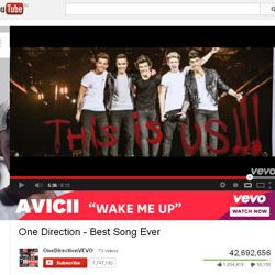"""Fourty Two Million + Views for """"One Direction – Best Song Ever"""",  in You Tube."""