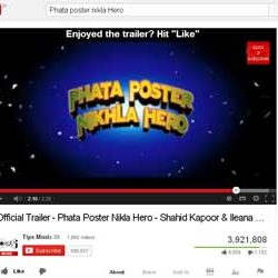 "Three Million + Views for ""Phata Poster Nikla Hero"" Official Trailer  in You Tube."