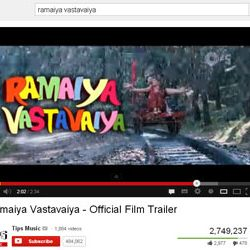 "Two Million + Views for ""Ramaiya Vastavaiya"" – Official Film Trailer in You Tube."