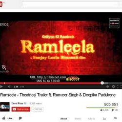 "Theatrical Trailer of ""Ramleela"", Released on You Tube."
