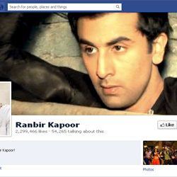 Two Million + likes for Ranbir Kapoor's Facebook page.