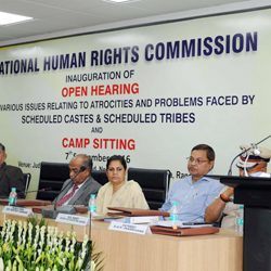 Open Hearing on various issues relating to Atrocities and problems faced by schedule casts and schedule tribes and camp sitting