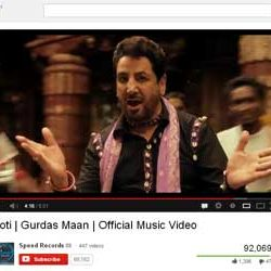 """Official Music Video """"Roti"""" by Gurdas Maan Released on You Tube."""