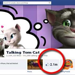 Two Million + likes for Talking Tom Cat Official Facebook Page.