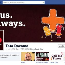 Twelve Million + likes for Tata Docomo Official Facebook Page.