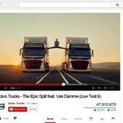 """Fourty Seven Million + Views for """"Volvo Trucks – The Epic Split feat. Van Damme (Live Test 6)"""", in You Tube."""