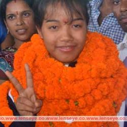 Warm Welcome to Asian Junior Bronze Medalist Jyoti Kumari at Ranchi Airport.