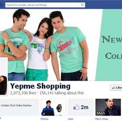 Two Million + likes for Yepme Shopping Facebook Page.