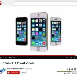 "Four Million + Views for ""iPhone 5S"" Official Video  in You Tube."