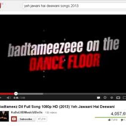 """Four Million + Views for """"Badtameez Dil"""" Song of Yeh Jawaani Hai Deewani in You Tube."""