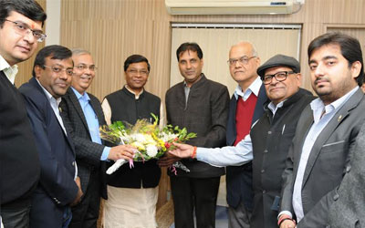 Delegation of FJCCI welcomed Union Minister of Social Justice and Empowerment Shudarshan Bhagat.