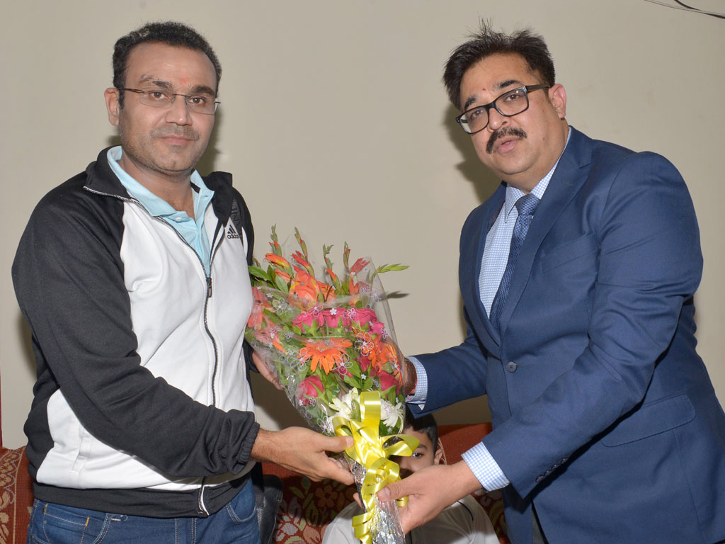CMD Mecon Atul Bhatt felicitated  Indian Cricketer Virendra Sehwag
