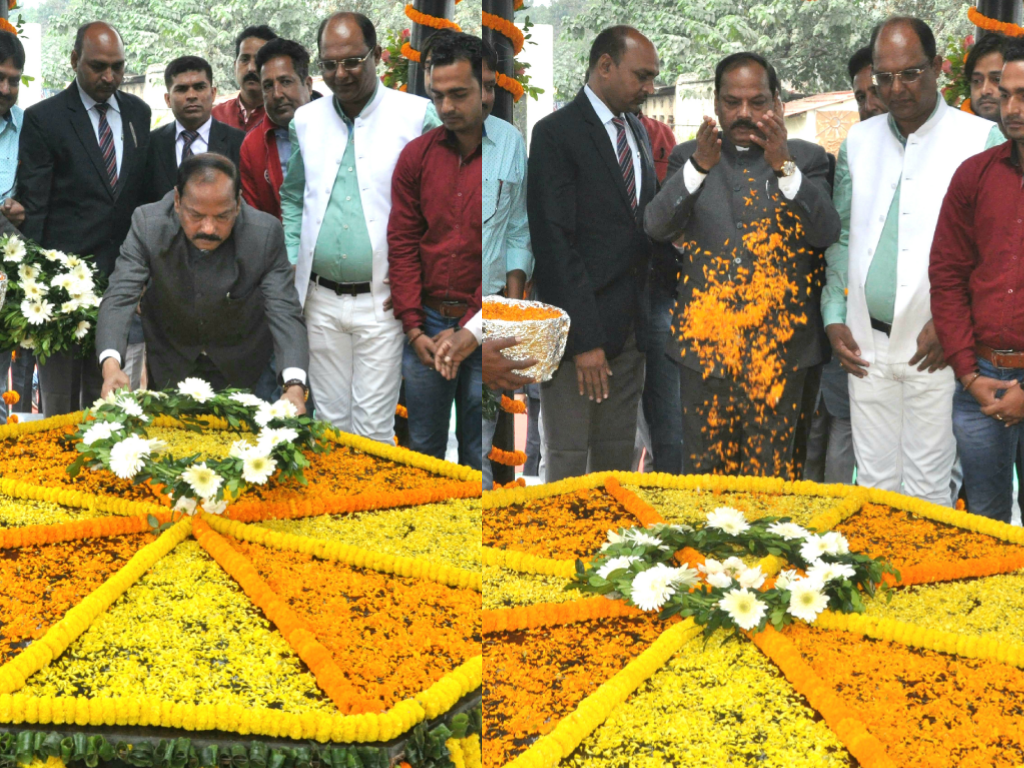 Floral tribute to tribal leader & freedom fighter Birsa Munda on the occasion of his birth anniversary