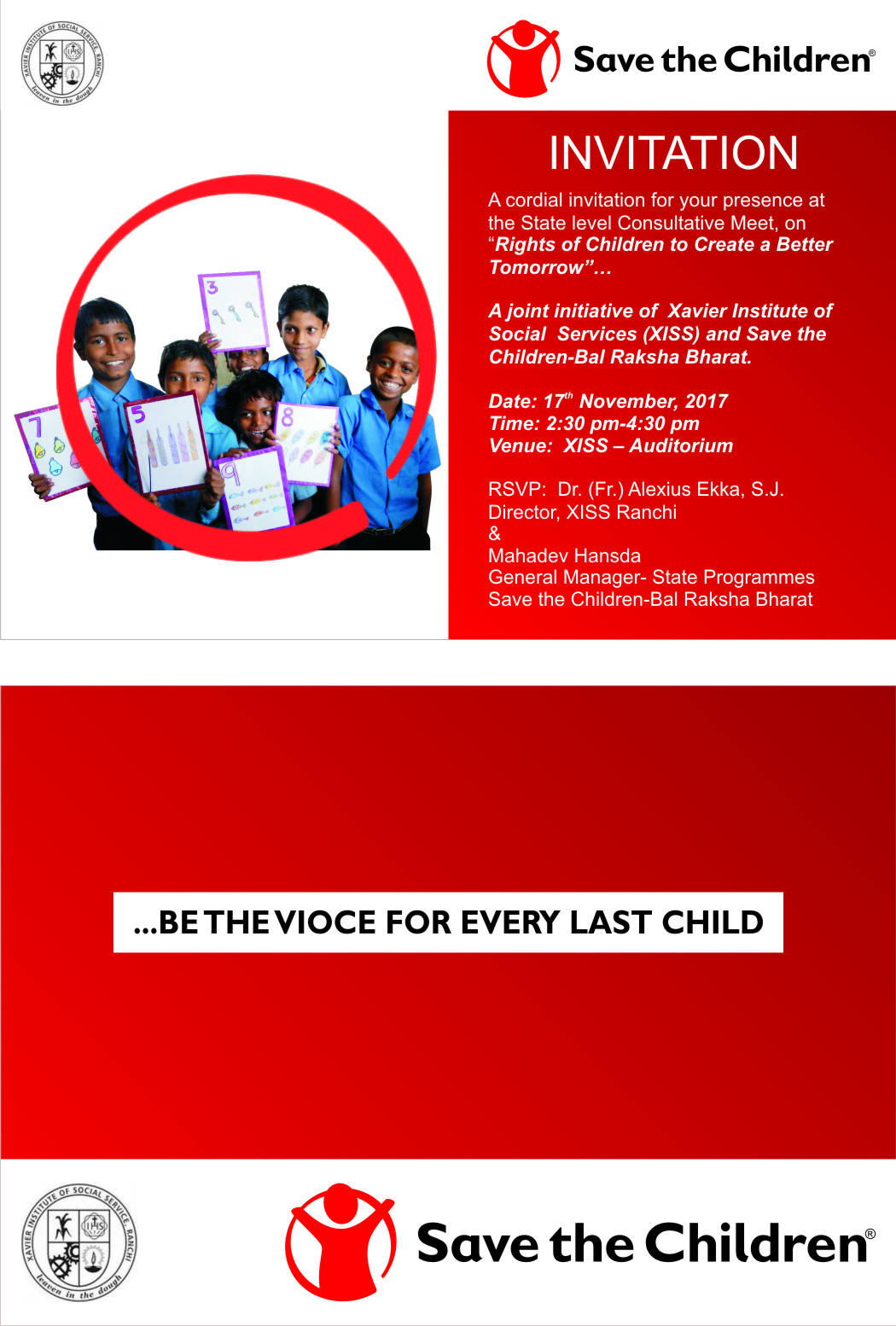 A Consultative Meet on Rights of Child for a better tomorrow, a joint initiative of XISS and Save The Children on 17th of November