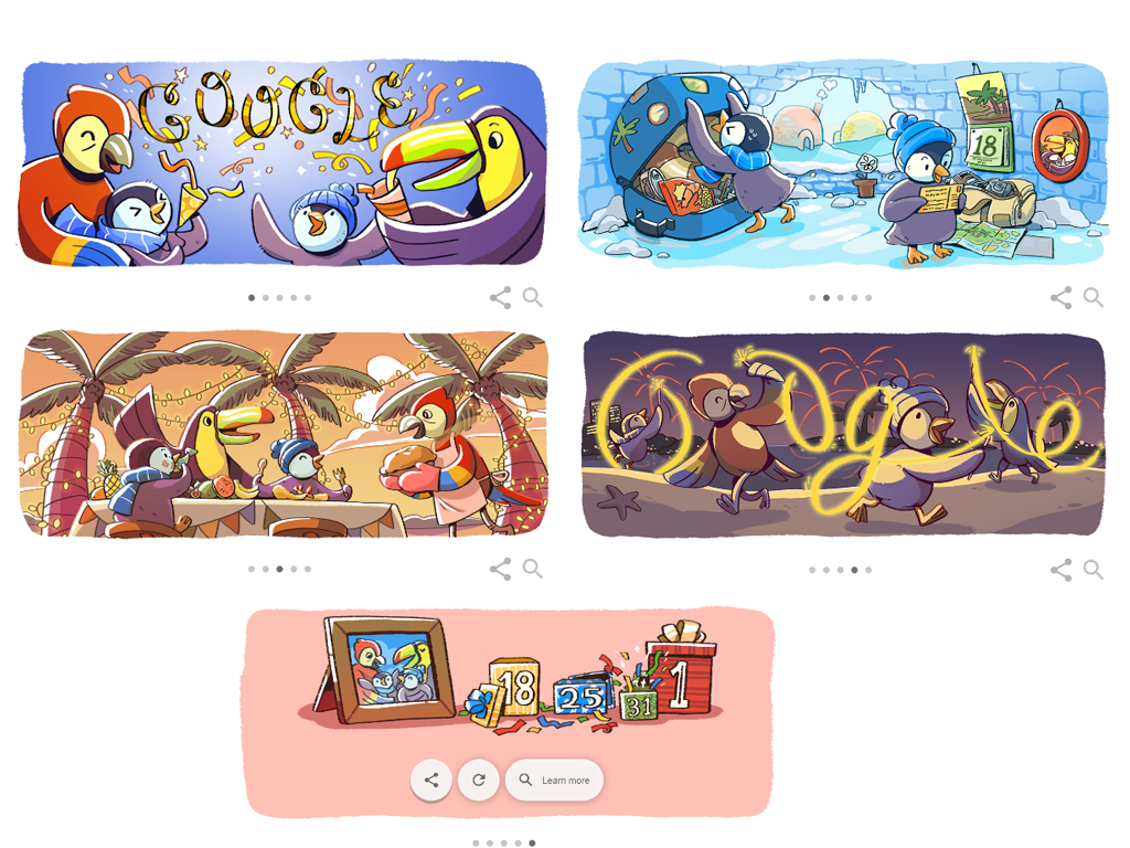 Google celebrated New Year Eve with Doodles